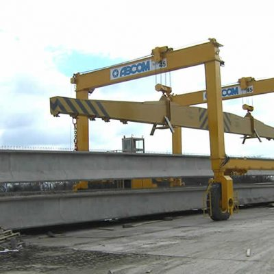 AerLift-ASCOM Automatic concrete beams rail mounted gantry crane